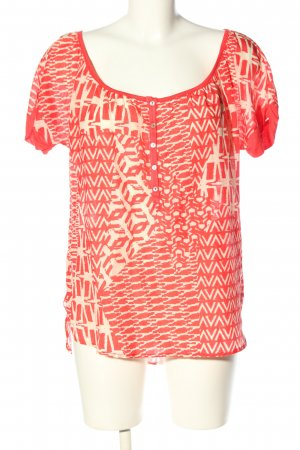 Velvet Kurzarm-Bluse rot-creme Allover-Druck Casual-Look