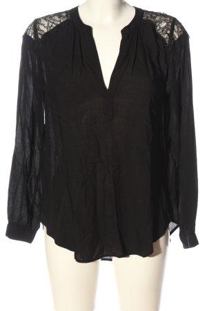 Velvet Langarm-Bluse schwarz Casual-Look