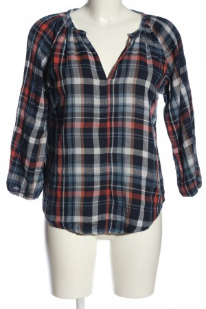 Velvet Leather Blouse blue-red allover print casual look