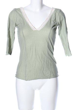 Velvet Longsleeve grün-creme Casual-Look