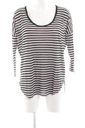 Velvet Longsleeve schwarz-weiß Streifenmuster Casual-Look
