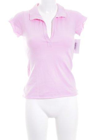 Velvet Polo-Shirt rosa Casual-Look