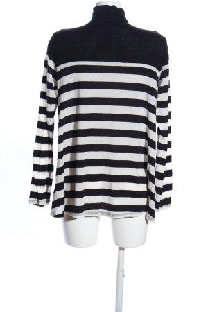Velvet Rollkragenshirt weiß-schwarz Streifenmuster Casual-Look