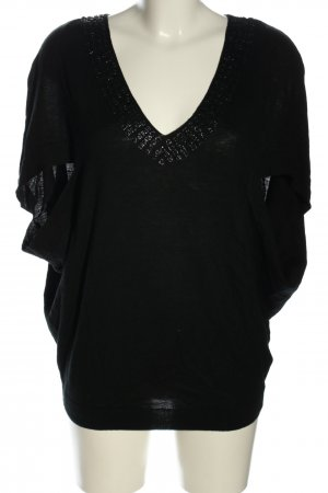 Velvet Strickshirt schwarz Zopfmuster Casual-Look