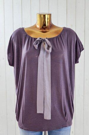 VELVET T-Shirt Shirt Oberteil Viskosegemisch Schleife Grau Schlamm Satin Gr.S