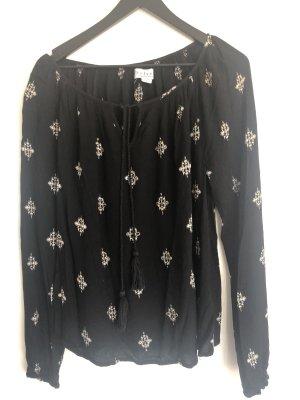 Velvet Tunikabluse schwarz mit weißem Aufdruck
