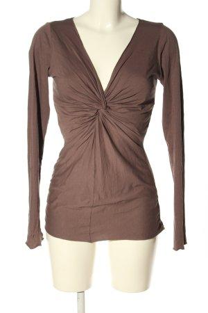 Velvet V-Ausschnitt-Shirt braun Casual-Look