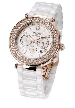 Reloj con pulsera metálica color rosa dorado-blanco