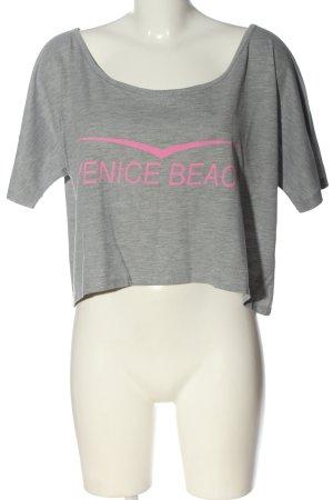 Venice beach T-shirt court gris clair-rose moucheté style décontracté