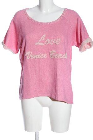 Venice beach Sweter z krótkim rękawem różowy Wydrukowane logo W stylu casual