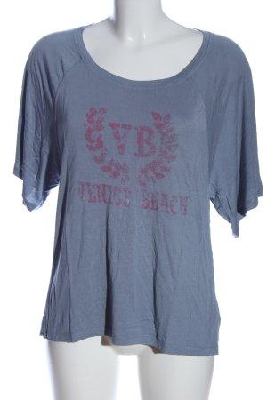 Venice beach Strickshirt blau Schriftzug gedruckt Casual-Look