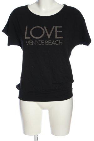 Venice beach Strickshirt schwarz-hellgrau Schriftzug gedruckt Casual-Look