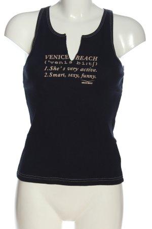 Venice beach Débardeur bleu-blanc cassé lettrage imprimé style décontracté