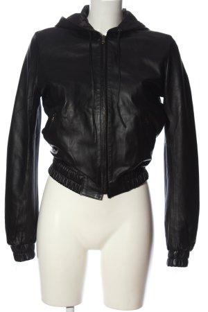 Ventcouvert Faux Leather Jacket black casual look