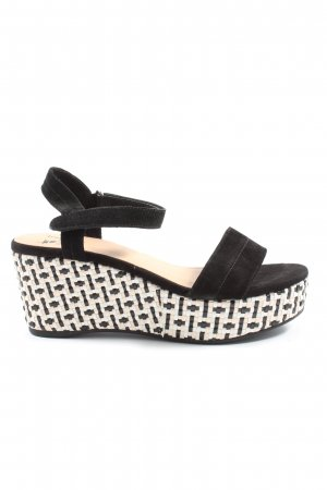 Venturini Sandalo con plateau nero-bianco stile casual
