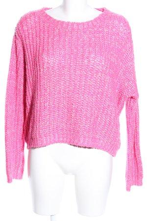 Venus Strickpullover pink-weiß Zopfmuster Casual-Look