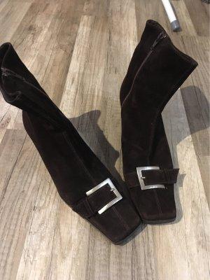 Vera Gomma Peep Toe Booties dark brown