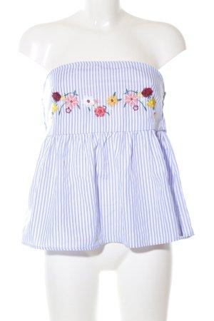 Vera & Lucy ärmellose Bluse blau-weiß Blumenmuster Casual-Look