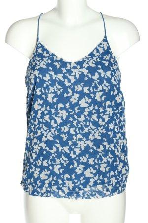 Vera Moda Blusentop blau-weiß Allover-Druck Casual-Look