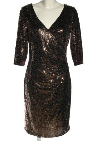 Vera Mont Abendkleid goldfarben-schwarz Allover-Druck Glanz-Optik