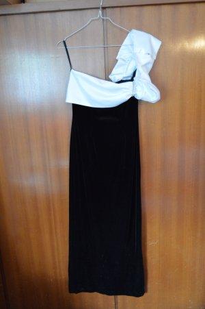 Vera Mont Abendkleid Samt Gr. 38/M schwarz weiß mit Strass 1x getragen, one shoulder