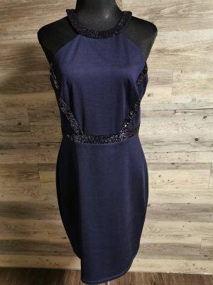 Vera Mont Vestido de cuello Halter azul oscuro