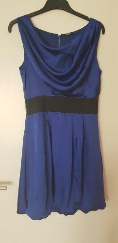 Vera Mont Kleid mit Wasserfallausschnitt / blau / Größe 36
