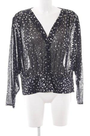 Vera Mont Langarm-Bluse schwarz-silberfarben Farbtupfermuster Casual-Look