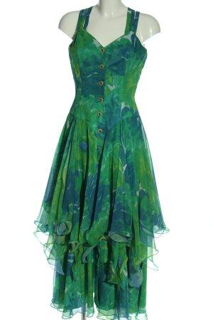 Vera Mont Abito scamiciato verde-blu motivo astratto elegante