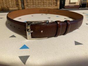 Vera Pelle Cinturón de cuero marrón-color plata