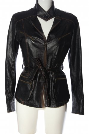 Vera Pelle Faux Leather Jacket black casual look