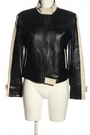 Faux Leather Jacket black-cream casual look
