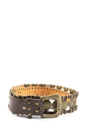 Vera Pelle Cinturón de pinchos marrón-amarillo pálido estilo extravagante
