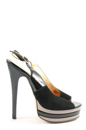 Vera Pelle Peeptoe Pumps schwarz Elegant