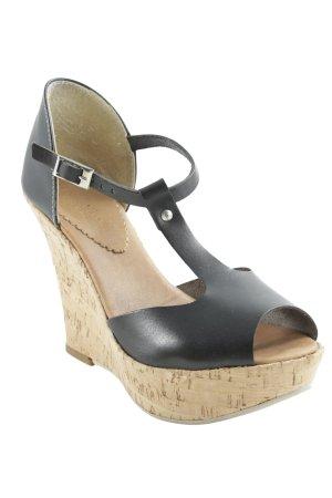 Vera Pelle Wedges Sandaletten schwarz-sandbraun Casual-Look