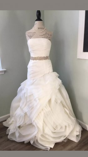 Vera Wang Vestido de novia blanco puro-crema
