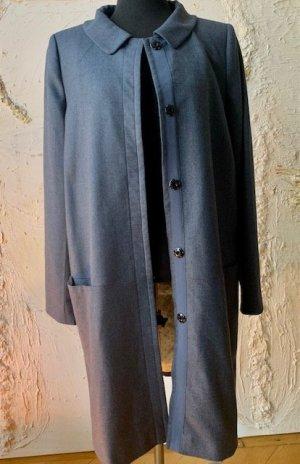 Vergin Wool Mantel mit Bubi-Kargen und Punkte-Futter in grau-blau Gr. 36
