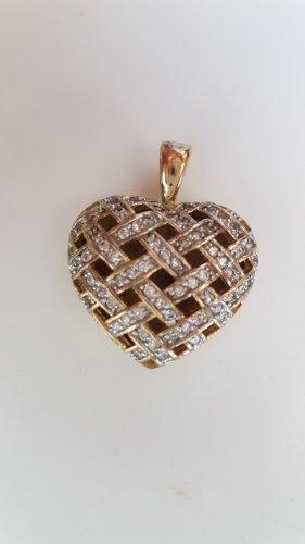 Vergoldet 925er Silber Kettenanhänger Herzform, verziert mit Zirkonia