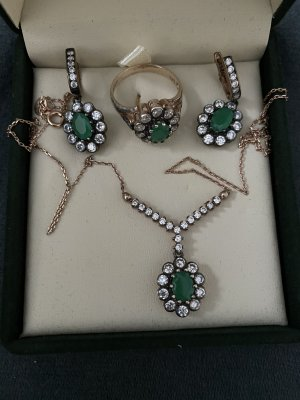 Atasay Jewellery Set gold-colored-forest green