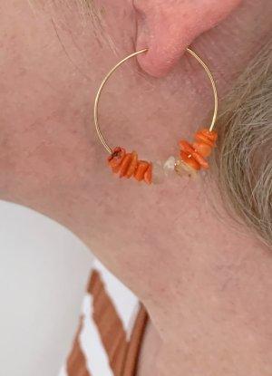 no name Orecchino a cerchio arancione-crema Tessuto misto