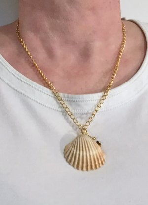 no name Shell Necklace gold-colored-beige metal