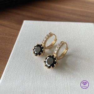 Viona Oorclips zwart-goud