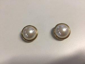 Vergoldete Vintage Grossé Ohrclips mit Perle