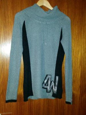 4Wards Kraagloze sweater zwart-donkergrijs