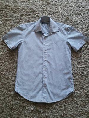 Verkaufe selten getragenes Hemd Gr. S in weiß/blau gestreift von ANGELO LITRICO- kurzärmlig