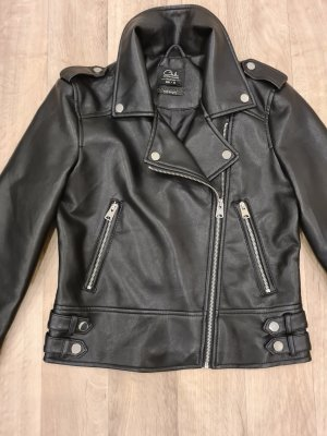 C&A Leather Jacket black-silver-colored