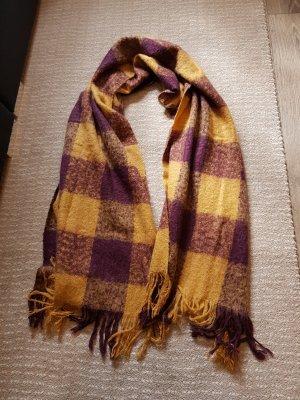 Écharpe en tricot jaune fluo-violet