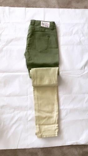 0039 Italy Pantalon strech vert-jaune clair