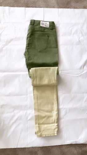 0039 Italy Stretch Trousers green-pale yellow
