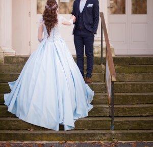 Vestido corsage azul claro-azul bebé
